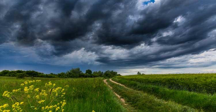 tormenta sobre un campo
